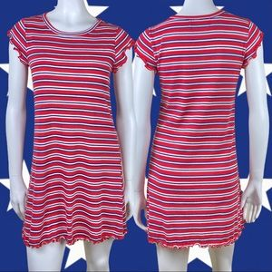 NO COMMENT Striped Americana T-Shirt Dress Small